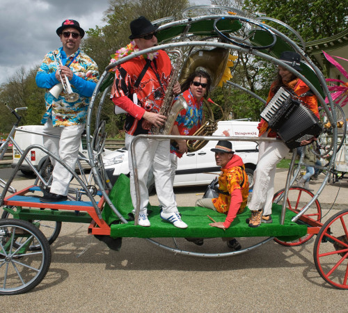 Skiband on bike coach by Richard Dawson and Noah Rose; photo by Ian Hodgson